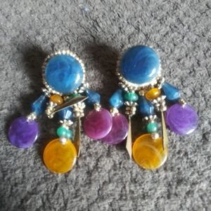 Vintage Southwestern Boho Hippie Earrings Jewelry